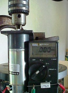 Motor mounted in Drill Press for Measurement