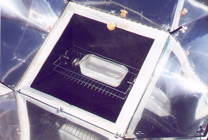 View of a casserole dish inside the Solar Oven
